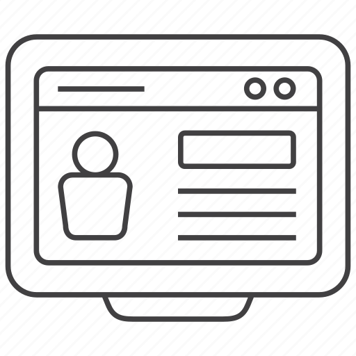 curriculum, cv, internet, monitor, profile, resume, web icon