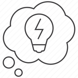 bulb, creative, energy, idea, thinking, thought, thoughts icon