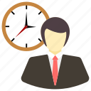 arrival, employee, late, man, management, office, time icon icon
