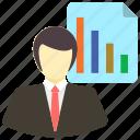 analysis, diagram, employee, graph, presentation, report icon icon