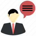 bubble, business, businessman, chat, man, speech, talking icon icon
