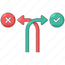 forked, way, choice, direction, arrow, sign, path