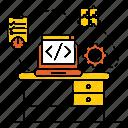 computer, desk, desktop, developer, device, technology icon