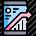 arrow, business, marketing, seo, smartphone icon