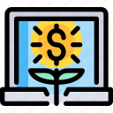 banking, business, economy, financial, investment, laptop icon