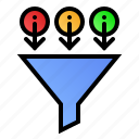 data, filter, funnel, information icon