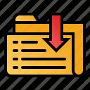 data, download, file, folder, receive icon