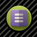 box, column view, items, menu, options, settings, vertical view