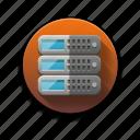 data, data center, files, hosting service, network, server icon