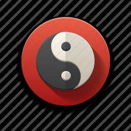 chinese symbol, colorful, flat icon, force, spiritual, yin yang icon