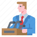 business, meeting, microphone, podium, presentation icon