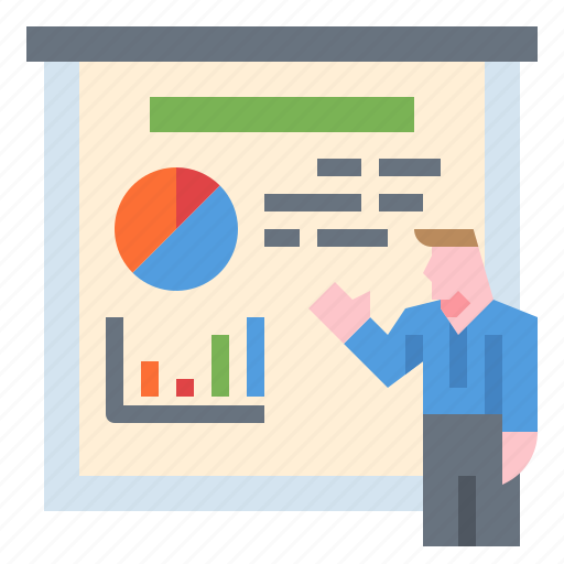 business, graph, meeting, pie chart, presentation icon