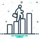 business, growth, stairs, success, up icon