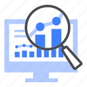 analysis, analytics, data, research, statistic, growth, magnifier
