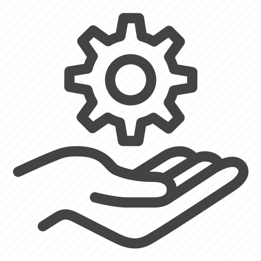 customer, gear, hands, lift, service, setting, settings icon