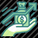 revenue, dollar, money, profit, grow