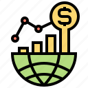 business, finance, global, growth, motivation icon