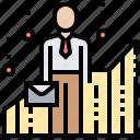analysis, businessman, chart, data, performance icon