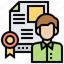 businessman, certification, employment, resume icon