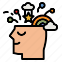 inspiration, think, mental, head, rainbow