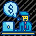 incentive, money, computer, business, man