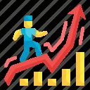 grow, up, businessman, power, graph