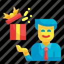 giftbox, surprise, man, present