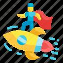 startup, businessman, business, rocket, marketing