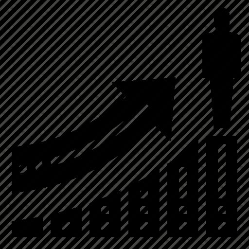 advancement, finance, growth, profit, progress icon