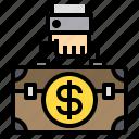 bag, business, cash, man, money icon