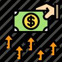 business, dollar, growth, hand, money icon