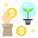 bulb, cash, idea, money, payment icon
