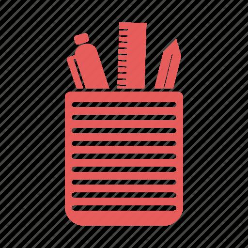 geometry box, pencil, pencil box, pencil case icon