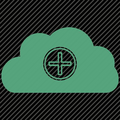 cloud, data, plus, storage, wheather icon