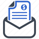 bill, invoice, mail, payment, recipe icon