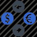 currency, dollar, euro, exchange, money, transaction icon