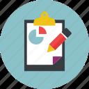 clipboard, pie chart icon icon