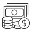 cash, coin, dollar, earn, money, paper, payment icon