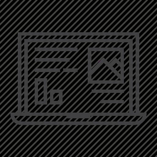 analytics, business, computer, graph, laptop, presentation, work icon