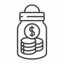 bottle, cash, coin, currency, dollar, money, saving icon