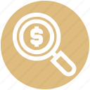 business, dollar, finance, magnifier, prize, research, search icon