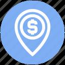 dollar, location, map, map pin, navigation, pin, sign icon
