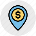 dollar, location, map, map pin, navigation, pin, sign icon