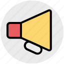 bullhorn, business, loudspeaker, marketing, megaphone, speaker icon