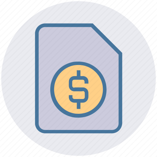 business, document, dollar, file, money, page, sign icon