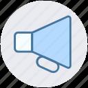 bullhorn, business, loudspeaker, marketing, megaphone, speaker icon