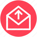 envelope, letter, mail, message, open envelope, send icon