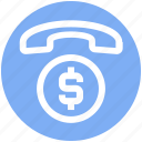 call, coin, communication, currency, dollar, phone, talk icon