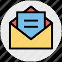 envelope, file, letter, mail, message, open envelope icon
