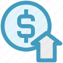 business, dollar, dollar coin, dollar value, income, profit, up arrow icon